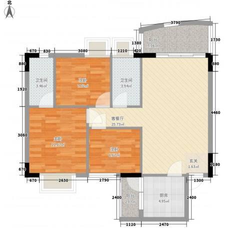 东田丽园二期3室1厅2卫1厨100.00㎡户型图