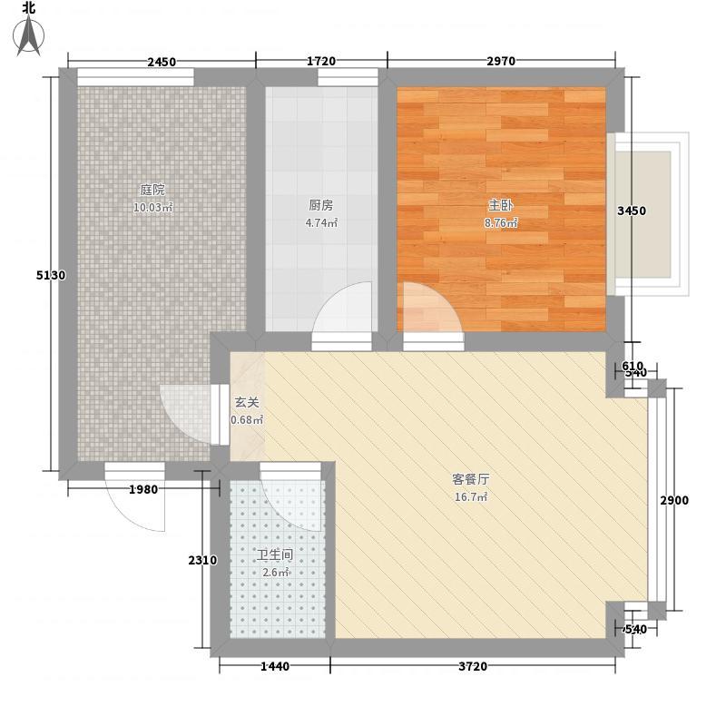 群星国际新城62.63㎡四期高层标准层E户型1室2厅1卫1厨