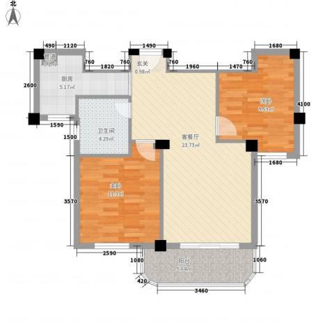 润和园2室1厅1卫1厨87.00㎡户型图