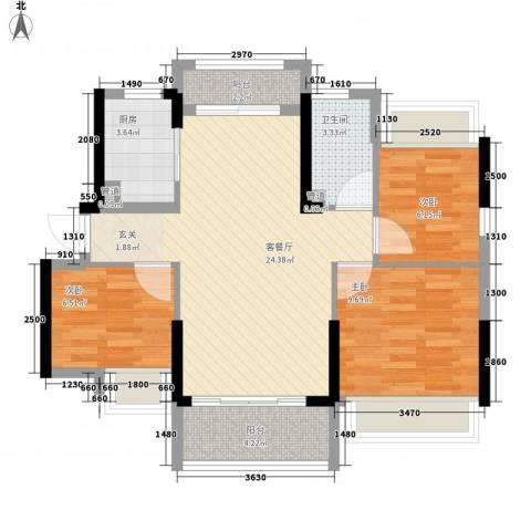 日升昌阳光御园3室1厅1卫1厨89.00㎡户型图