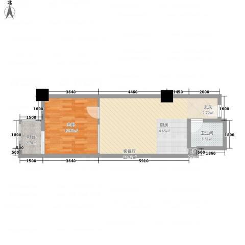万都阿波罗1室1厅1卫0厨57.00㎡户型图