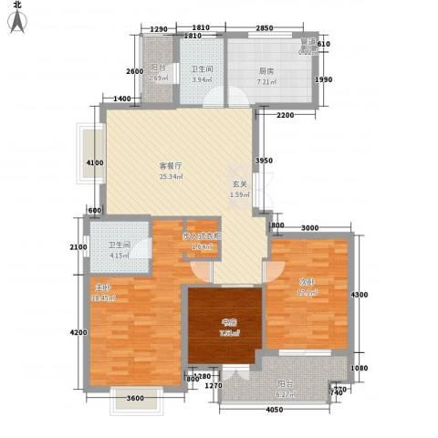 颐和名苑3室1厅2卫1厨121.00㎡户型图