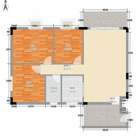 启明苑3室1厅1卫1厨113.00㎡户型图