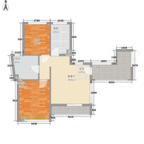 竹悦山水2室1厅1卫1厨103.00㎡户型图