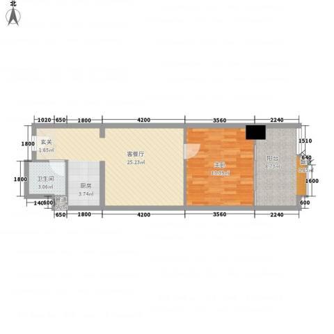 万都阿波罗1室1厅1卫0厨63.00㎡户型图