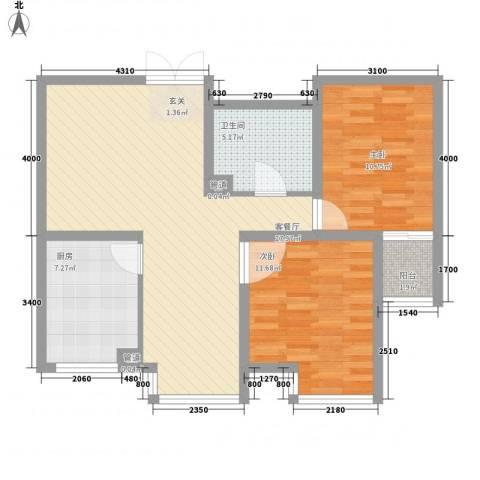 新领地2室1厅1卫1厨93.00㎡户型图