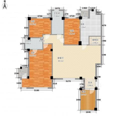 万科上东区3室1厅2卫1厨146.00㎡户型图