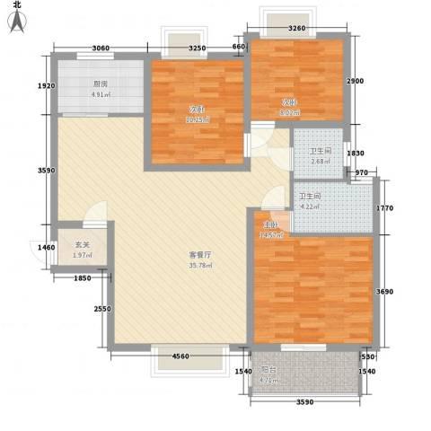 天正银河湾3室1厅2卫1厨118.00㎡户型图