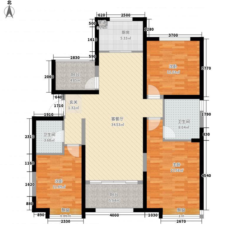 太原保利香槟国际3室1厅2卫1厨143.00㎡户型图