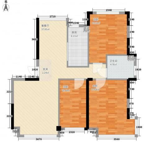 万科上东区3室1厅1卫1厨120.00㎡户型图