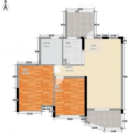 世纪城龙祥苑2室1厅1卫1厨138.00㎡户型图