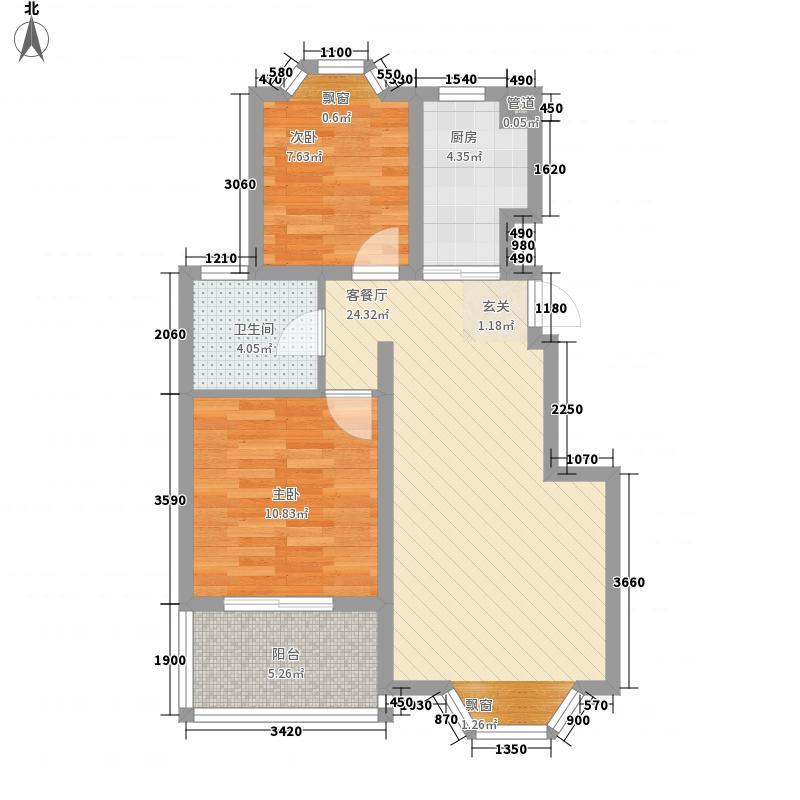 龙福新苑82.00㎡户型2室