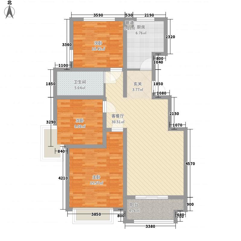 清河垄塬111.00㎡8#/18#楼C户型3室2厅1卫1厨