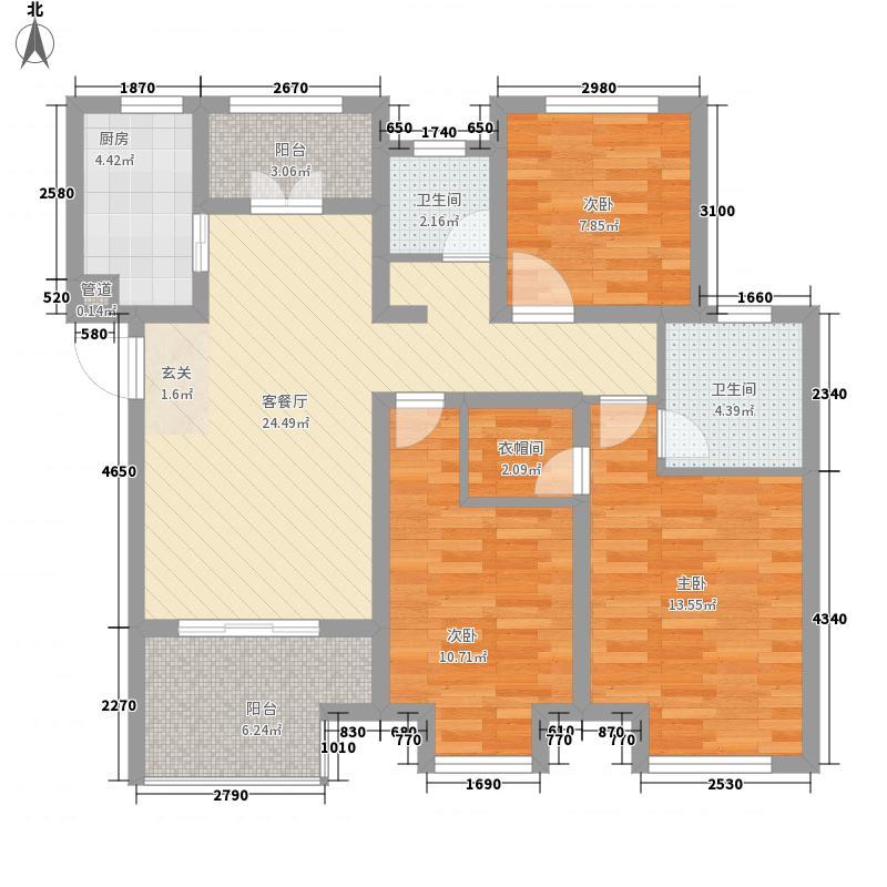绿地滨湖国际城116.00㎡B-1户型3室2厅2卫1厨