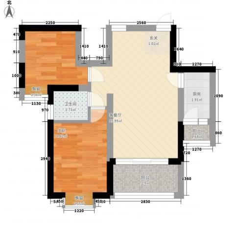 世纪城龙祥苑2室1厅0卫1厨51.00㎡户型图