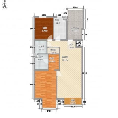 西子大厦2室1厅2卫1厨134.00㎡户型图