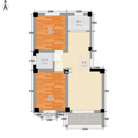 华庭美第2室1厅1卫1厨67.00㎡户型图