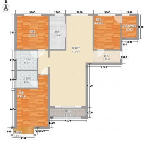 府东美奥花苑3室1厅2卫1厨142.00㎡户型图