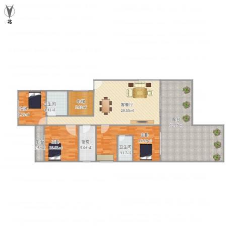 古龙商城3室1厅2卫1厨158.00㎡户型图