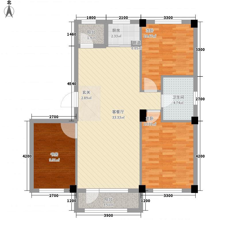 金城帝景3室1厅1卫1厨79.45㎡户型图
