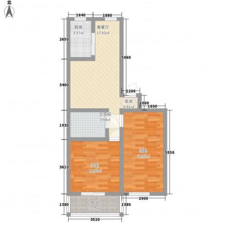 清河苑2室1厅1卫1厨78.00㎡户型图