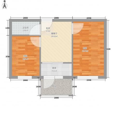 农林小区2室1厅1卫1厨60.00㎡户型图