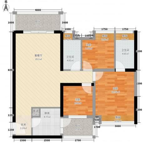珠江・观澜御景3室1厅2卫1厨78.37㎡户型图
