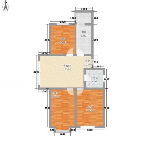 博隆金水湾家园3室1厅1卫1厨89.00㎡户型图