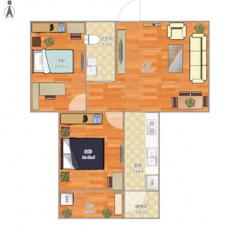 建欣苑五里2室1厅1卫1厨69.00㎡户型图