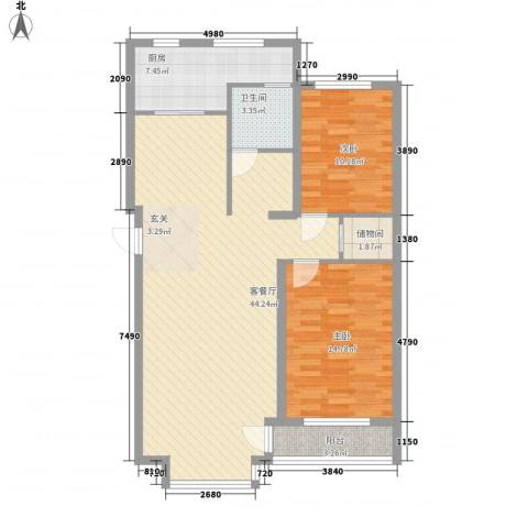 �盛苑2室1厅1卫1厨120.00㎡户型图
