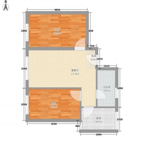 博隆金水湾家园2室1厅1卫1厨69.00㎡户型图