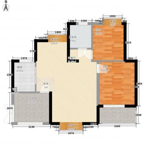 世纪城龙祥苑2室1厅1卫1厨71.10㎡户型图