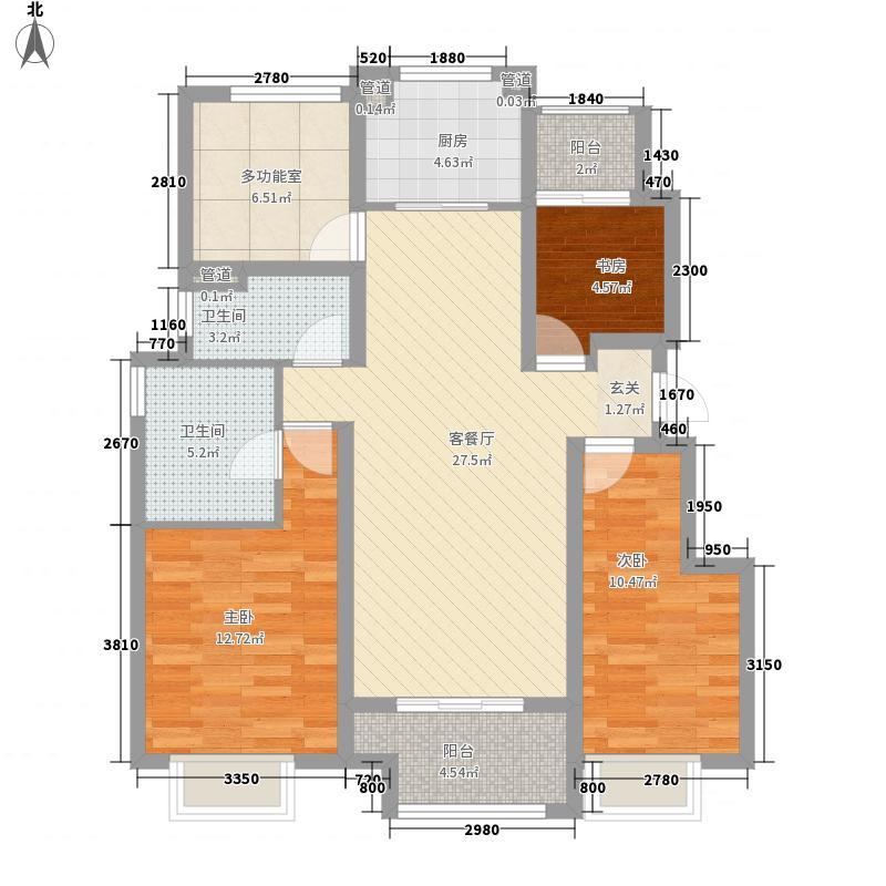 万科城3室1厅2卫1厨119.00㎡户型图