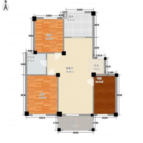 泰林公寓3室1厅1卫1厨93.29㎡户型图