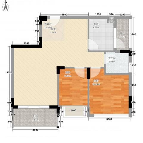 金地格林小城2室1厅1卫1厨60.75㎡户型图