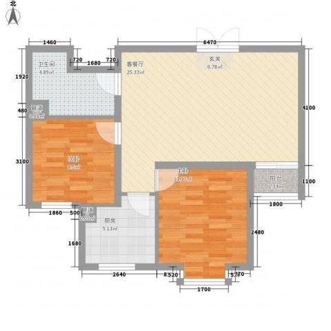 新领地2室1厅1卫1厨81.00㎡户型图