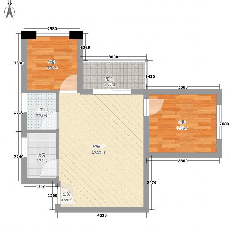 中骏四季康城二期2室1厅1卫1厨60.00㎡户型图