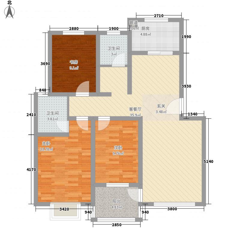 金帝城123.26㎡15号楼J户型3室2厅2卫1厨