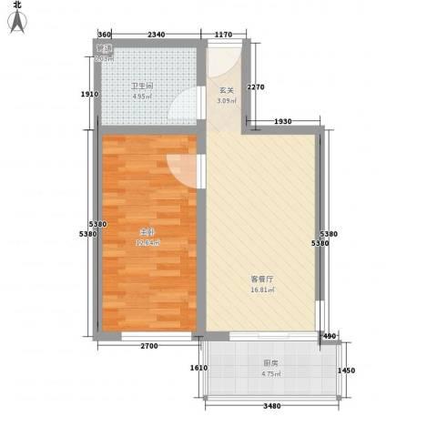 大业时代广场1室1厅1卫1厨59.00㎡户型图