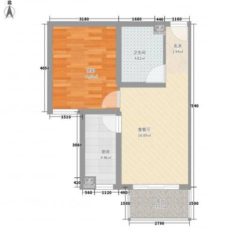 大业时代广场1室1厅1卫1厨57.00㎡户型图