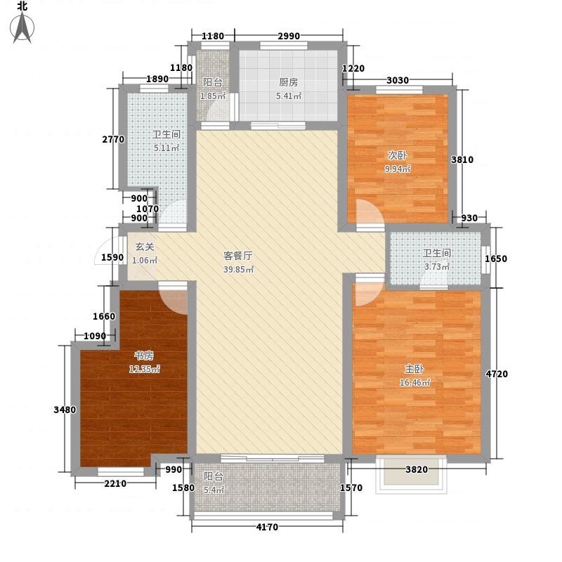 汉峪海风143.00㎡C3户型3室2厅2卫1厨