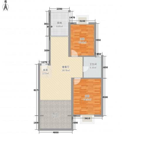 金鑫花苑2室1厅1卫1厨95.00㎡户型图