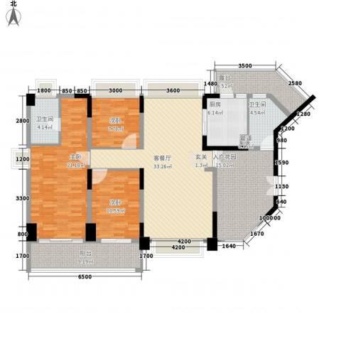 水云居3室1厅2卫1厨135.00㎡户型图