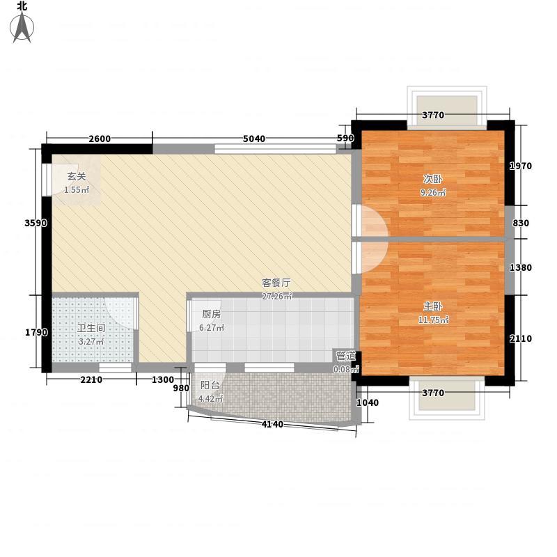 濠东花园87.00㎡户型2室