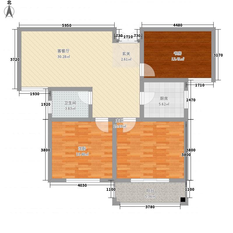丽景花苑122.30㎡一期D户型3室1厅1卫1厨