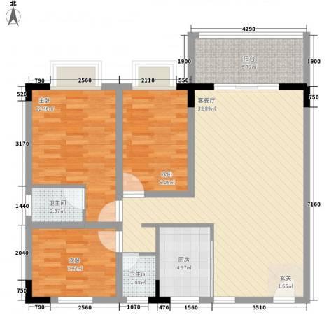 东湖花园四区3室1厅2卫1厨112.00㎡户型图