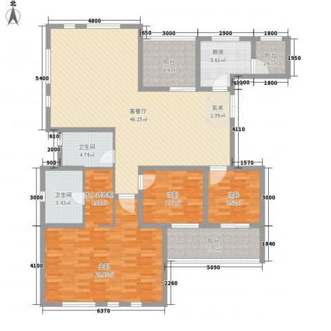 金地国际花园3室1厅2卫1厨158.00㎡户型图