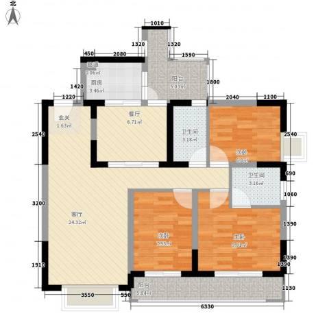 东湖花园四区3室2厅2卫1厨112.00㎡户型图