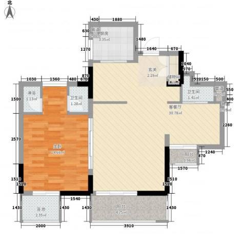 万科棠樾1室1厅2卫1厨90.00㎡户型图
