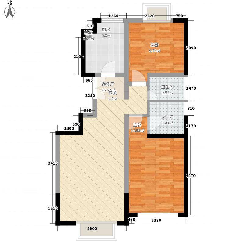 金轮馨园两室两厅两卫2户型2室2厅2卫1厨